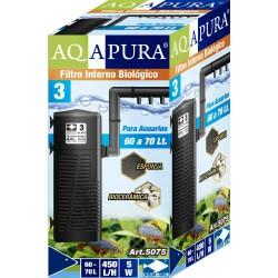AQAPURA FILTRO INTERNO BIOLOGICO CON ROCIADOR PARA ACUARIOS Y ACUATERRERARIOS 5075 PARA 60 A 70L 450L/H(24)