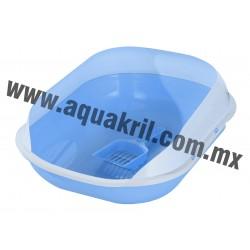 7684 Arenero DELUXE II azul con extensión para evitar derrames y pala 47x39x18.5 cm.