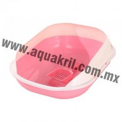 7681 Arenero DELUXE II rosa con extensión para evitar derrames y pala 47x39x18.5 cm.
