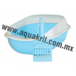 7666 Arenero BASIC azul con extensión para evitar derrames y pala 37x28x16 cm.