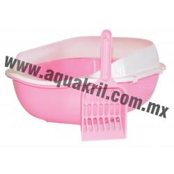 7669 Arenero BASIC rosa con extensión para evitar derrames y pala 37x28x16 cm.