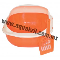 7678 Arenero BASIC naranja con extensión para evitar derrames y pala 37x28x16 cm.